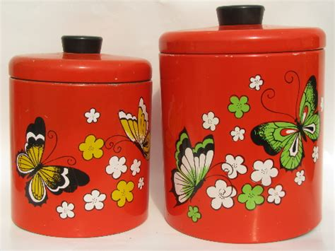 60s vintage striped metal kitchen canisters retro canister set with retro butterflies ransburg kitchen canisters 60s vintage