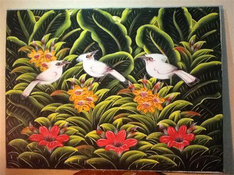 Lukisan Hiasan Dinding Ranting Background Putih jual lukisan burung jalak putih background hijau dan bunga