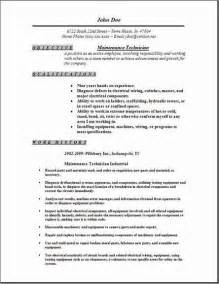 Maintenance Technician Resume by Maintenance Technician Resume Occupational Exles