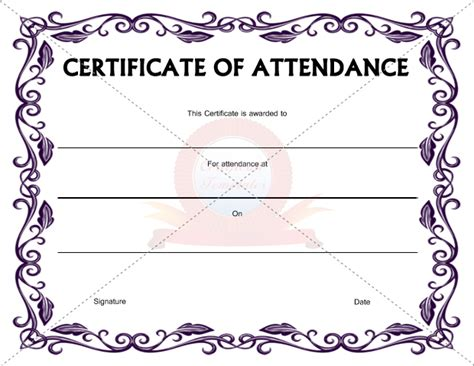 template certificate of attendance templates for certificates of attendance http