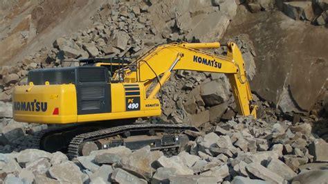 rock breaker komatsu excavator pc loading  volvo af dump truck youtube