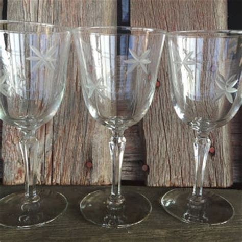 Vintage Barware Water Goblets And Best Vintage Etched Wine Glasses Products On Wanelo