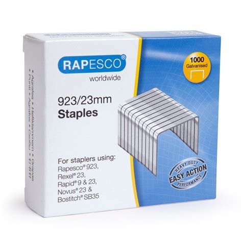 4 000 x rapesco 923 23mm staples wire galvanised