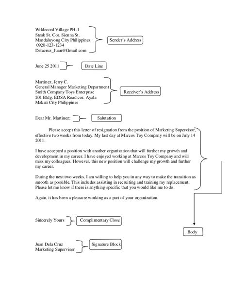 Acceptance Letter Parts Handouts Resignation
