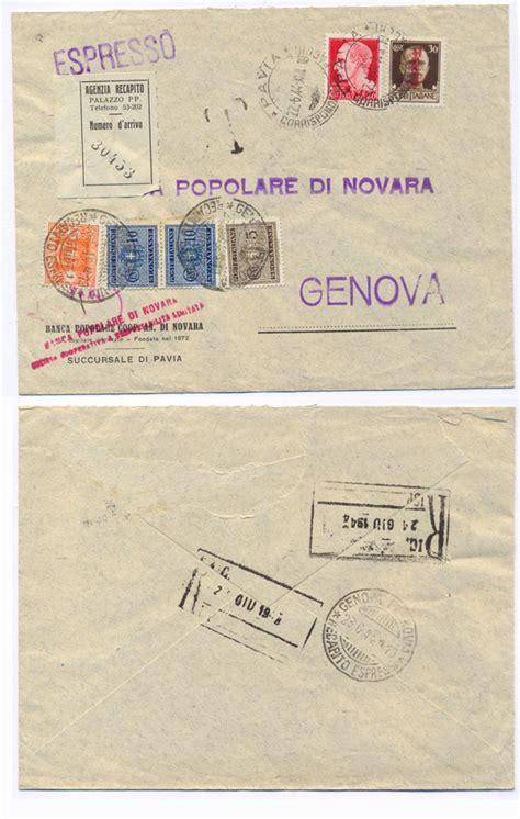 banca popolare di novara a genova storia postale italiana