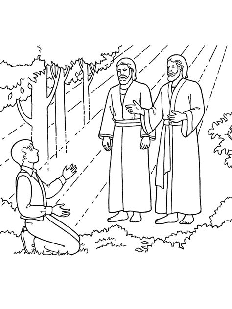 lds coloring pages joseph smith the first vision joseph sees god the father and jesus christ