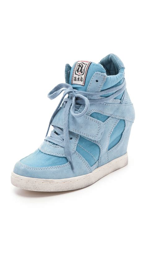 ash cool wedge sneakers ash cool suede wedge sneakers with canvas insets in blue