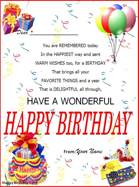 free birthday card template word birthday card template page word excel pdf
