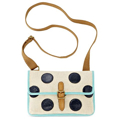 Fossil Satchel Navy Polkadot fossil keyper east west mini cross in multicolor navy polka dots lyst