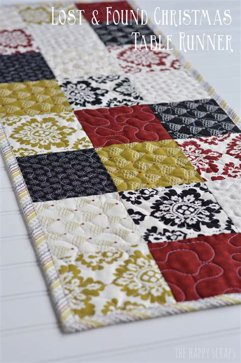 Patchwork Runner - patchwork table runner on quilted table