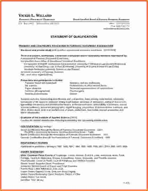 qualifications on resume sle statement qualifications template sle resume
