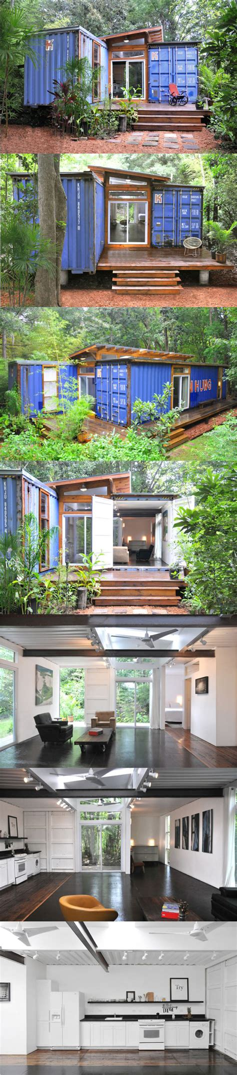 inside and outside of a beautiful shipping container home