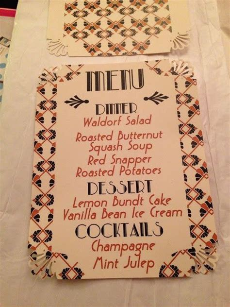 great gatsby dinner menu pin by erika riddell on weddings