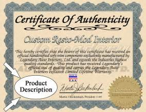 certificates of authenticity