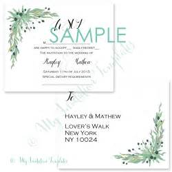 rsvp wedding templates rsvp postcard template free sle wreath