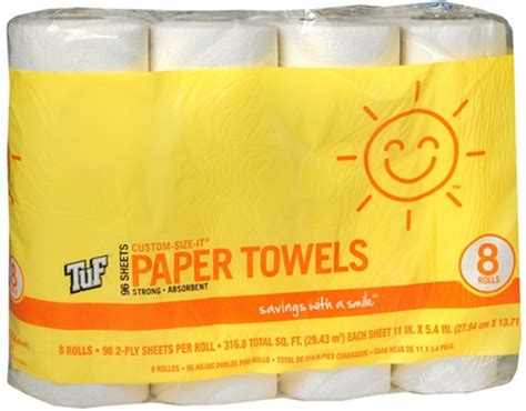 $0.50 per roll smile & save paper towels at walgreens