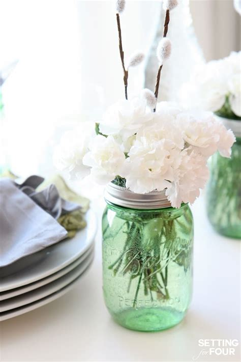 Quick And Easy Mason Jar Centerpieces Setting For Four How To Make Jar Centerpieces