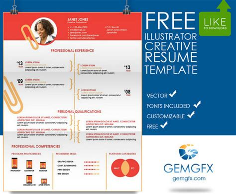 illustrator template neat and engaging free resume templates ewebdesign