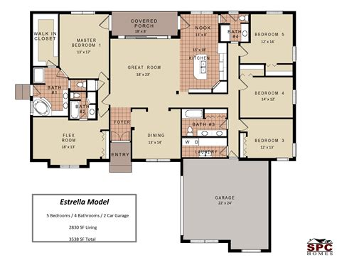 5 Bedroom One Story Floor Plans With House And Gallery One Bedroom Home Designs