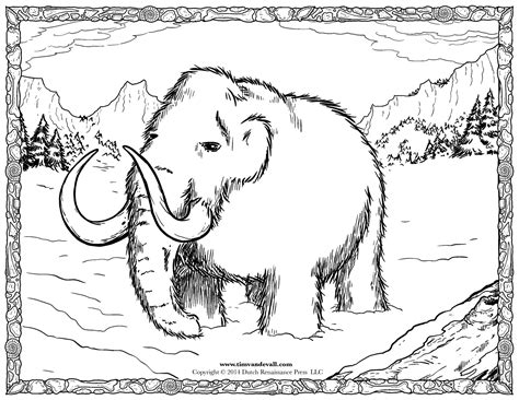 Wooly Mammoth Coloring Page woolly mammoth coloring page tim s printables