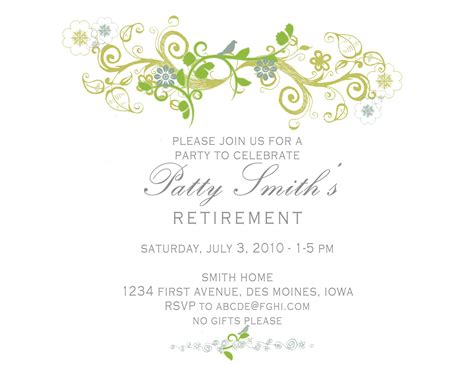 retirement invitation card invitation templates