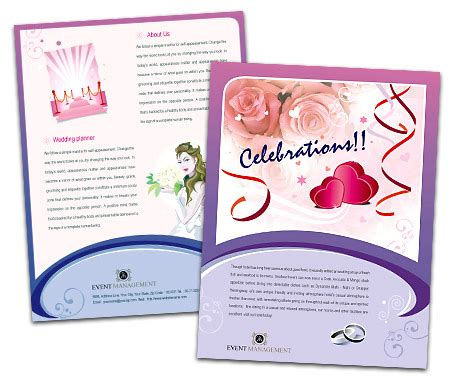 Wedding Event Management Brochure Pdf by Single Page Brochures Design For Event Management Services