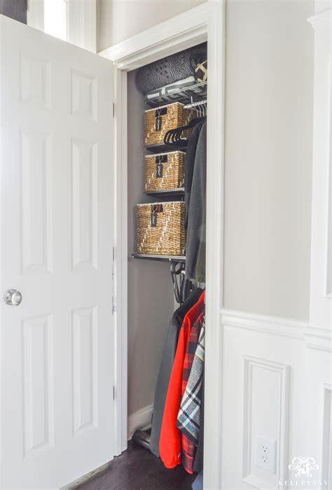 Organized Foyer Coat Closet  Before and After Makeover