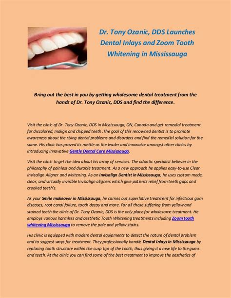 dr tony ozanic dds launches dental inlays  zoom tooth