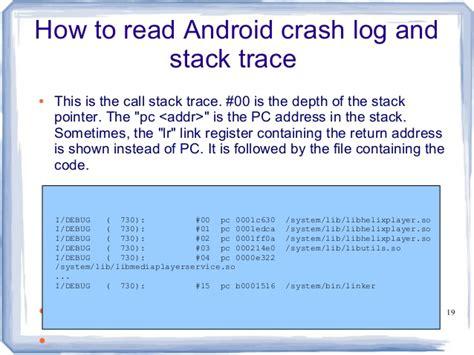 android crash log android crash debugging