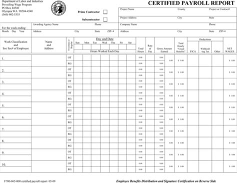 Download Washington Certified Payroll Form For Free Formtemplate Certified Payroll Template