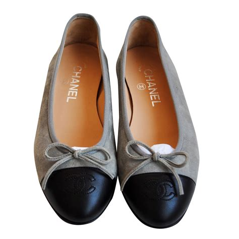 chanel ballet slippers chanel ballerina shoes ballet flats suede grey ref 27444