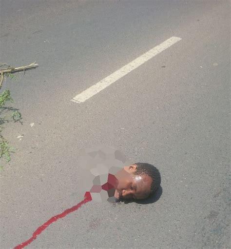 horror mans head chopped   horrific road accident
