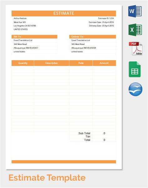 blank estimate form template printable blank estimate forms
