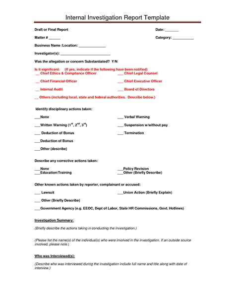 investigation report form template best photos of investigation report template sle