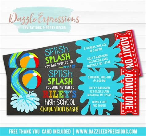 free printable graduation tickets printable pool party chalkboard ticket graduation