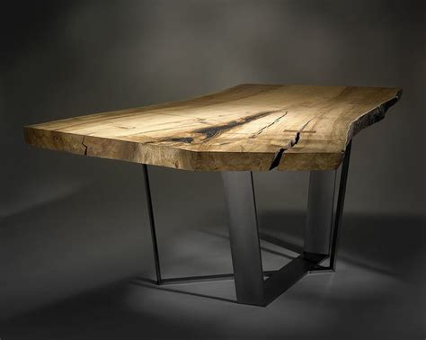 custom wood table custom dining table with spalted maple slab and cast metal
