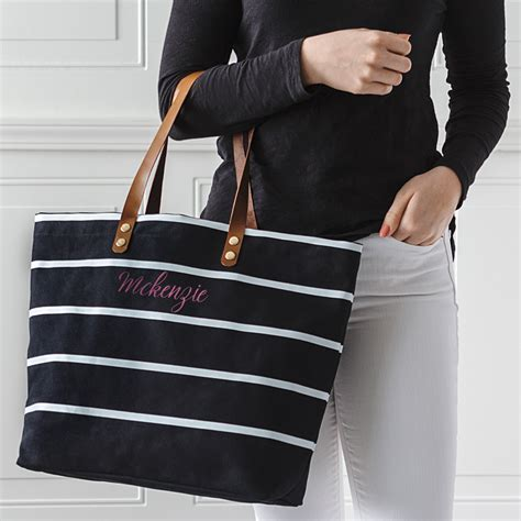 Personalized Black Striped Canvas Tote w/ Leather Handles