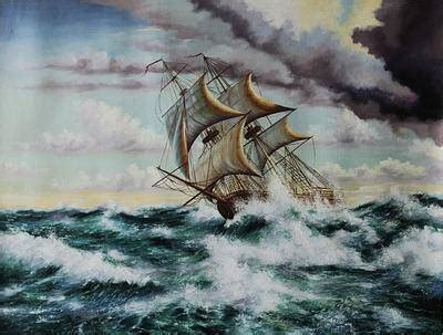 tall ship oil painting fleeing from the storm | novica