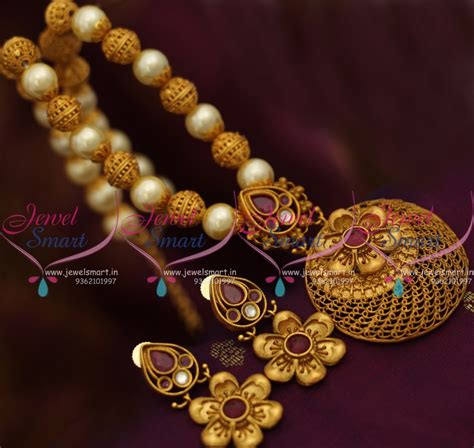 Handmade Gold Jewellery - nl8268 nakshi beaded pearl reddish mat gold handmade