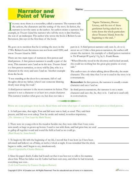 point of view worksheets the narrator