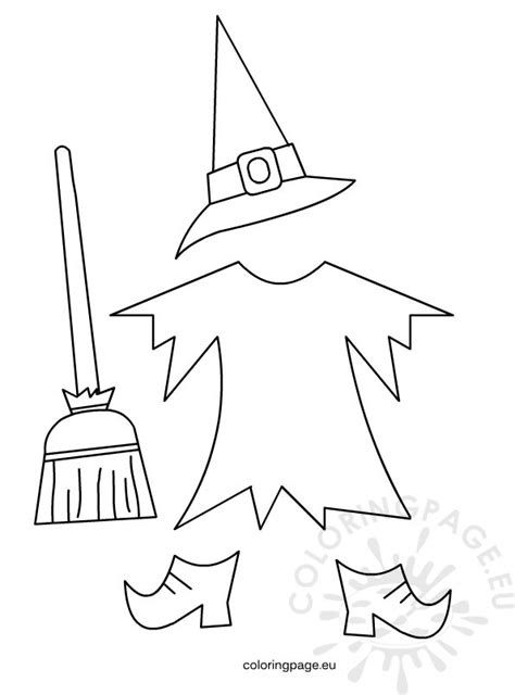 witch template witch costume coloring page