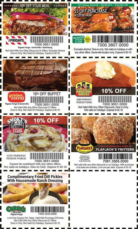 printable restaurant coupons for pigeon forge tn discount coupons for the smoky mountains pigeon forge