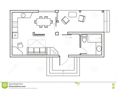floor plan sketch free linear architectural sketch plan studio house stock vector
