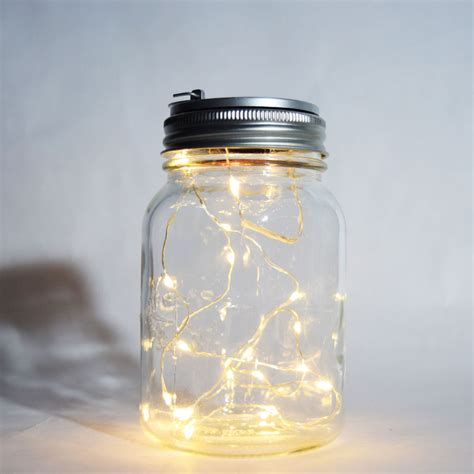 Fantado Wide Mouth Clear Mason Jar Light W Hanging Warm Light Jars