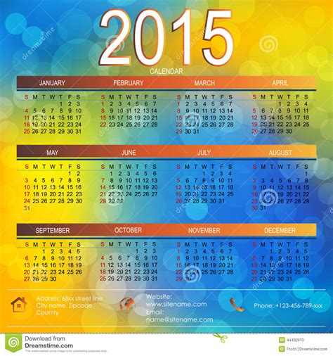 vector template design calendar 2105 stock vector image