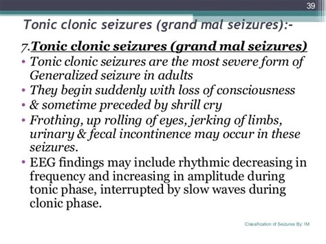 Detox Grand Mal Seizure by Classification Of Seizures Ilae By Syed Irshad Murtaza
