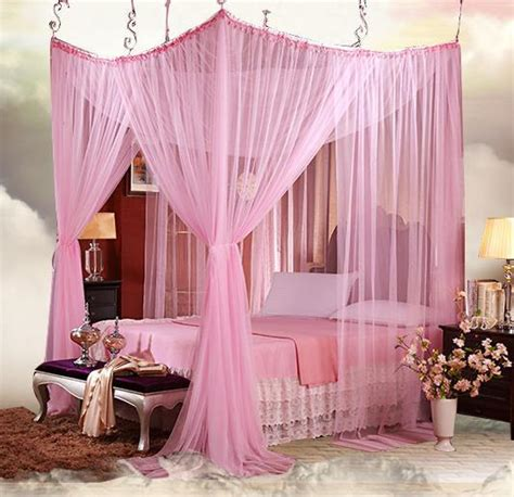 King Size Canopy Bed With Curtains by Aliexpress Buy 4 8 Four Corner Lace Canopy