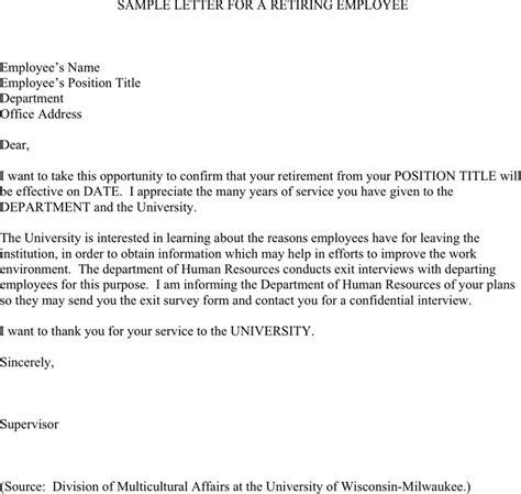 retirement letter samples template