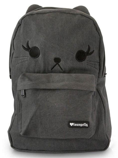 shop tec pack charcoal gray quot cat quot denim backpack by loungefly charcoal grey inked shop