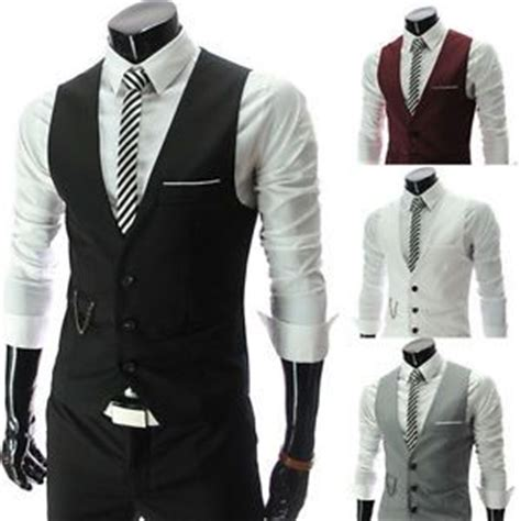 Mens Wedding Attire Vests by Mens Wedding Waistcoat Formal Casual Sleeveless Suits